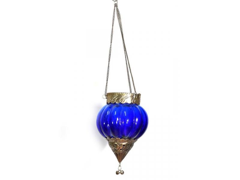 Závěsný skleněný svícen, modrá, kovové zdobení, 16x12cm
