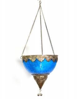 Závěsný skleněný svícen, tyrkysový, kovové zdobení, 12x12cm