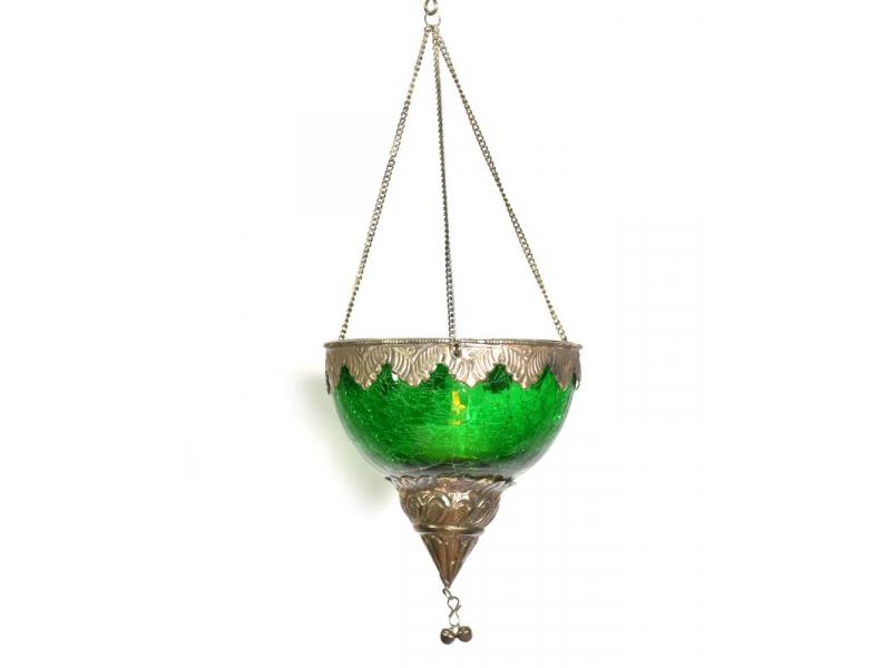 Závěsný skleněný svícen, zelená, kovové zdobení, 12x12cm