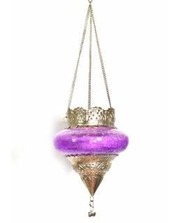 Závěsný skleněný svícen, fialová, kovové zdobení, 12x12cm