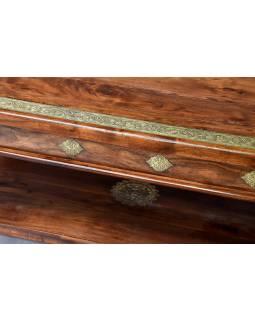 Konferenční stolek z palisandrového dřeva, mosazné kování, 60x110x50cm