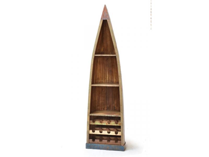 Knihovna/vinotéka z antik teakového dřeva ve tvaru lodi,  58x44x209cm