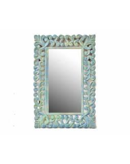 Zrcadlo ve vyřezávaném rámu, stříbro zelené, mango, 61x90x3cm