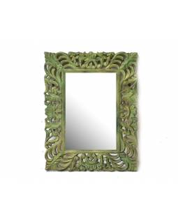 Zrcadlo ve vyřezávaném rámu, stříbro zelené, mango, 60x80x3cm