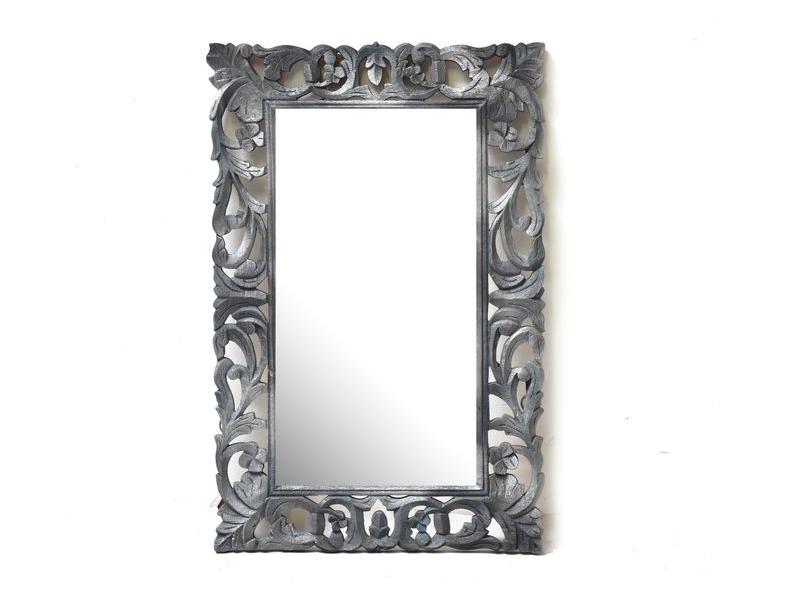 Zrcadlo ve vyřezávaném rámu, stříbro šedé, mango, 57x88x3cm