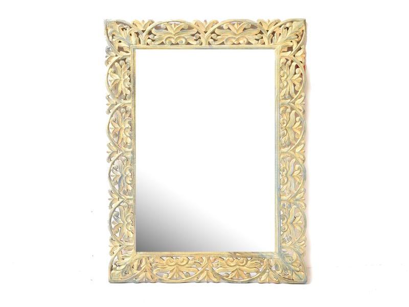 Zlato zelené, ručně vyřezávané zrcadlo z mangového dřeva, 91x120x4cm
