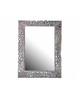 Tyrkysovo stříbno růžové, ručně vyřezávané zrcadlo z mangového dřeva, 90x118x4cm