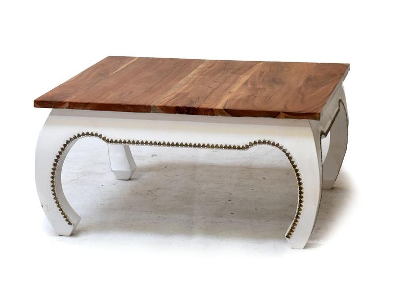 Konferenční stolek z palisandru, zdobený mosazným kováním, 89x89x45cm
