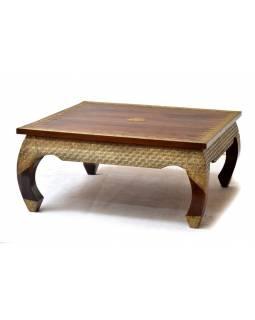 Konferenční stolek z palisandru, zdobený mosazným kováním, 100x99x45cm
