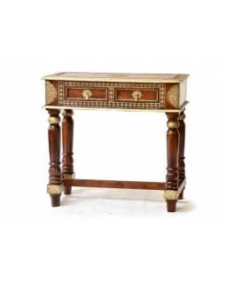 Konzolový stolek z palisandru zdobený mosazným kováním, 90x42x87cm