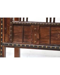 Konzolový stolek z antik teakového dřeva, železné kování, 125x45x73cm