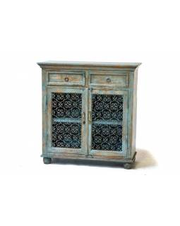 Prosklená skříň z antik teakového dřeva, tyrkysová patina, 98x40x102cm