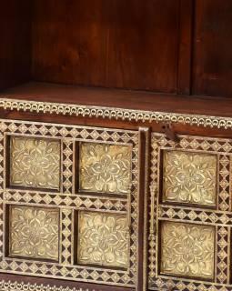 Knihovna se šuplíky z palisandrového dřeva, mosazné kování, 100x35x180cm