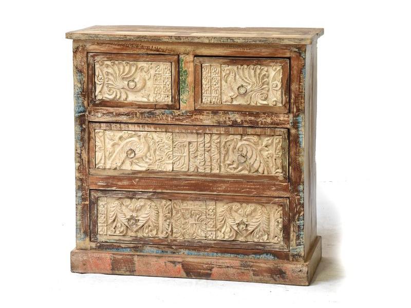 Komoda z antik teakového dřeva s ručně vyřezávanými šuplíky, 85x40x83cm