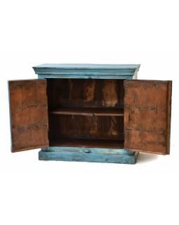 Komoda z antik teakového dřeva, tyrkysová patina, 99x49x92cm