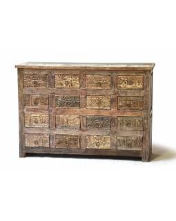 Šuplíková komoda z antik teakového dřeva, ruční řezby na šuplíkách, 124x35x87cm