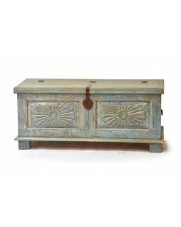 Dřevěná truhla z antik teakového dřeva, 110x44x49cm