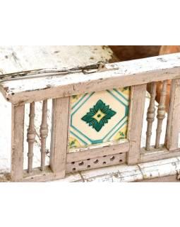 Stará lavice z masivního teaku, zdobená dlaždicemi, 159x55x84cm