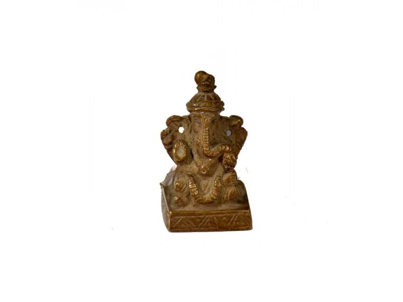 Ganeš, mosazná soška, antik patina, 5x3cm