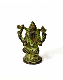 Ganeš, mosazná soška, zelená patina, 6x4cm