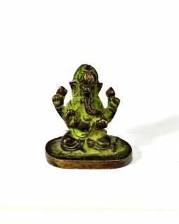 Ganeš, mosazná soška, zelená patina, 4x5cm