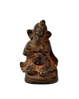 Ganeš, antik mosazná soška, hnědá patina, 8x4cm