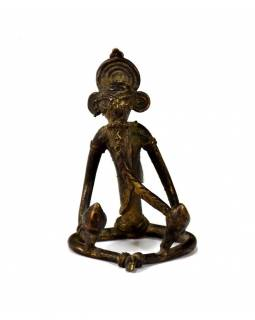 Ganeš, mosazná soška, antik patina, tribal art, 5x8cm