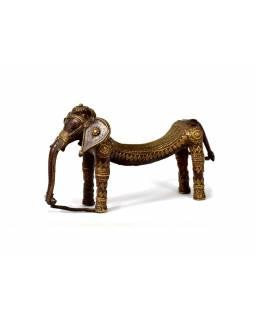 Slon, tribal art, mosazná soška, měděná úprava, 26x11cm