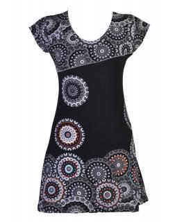Černo-šedé šaty s krátkým rukávem a potiskem mandal