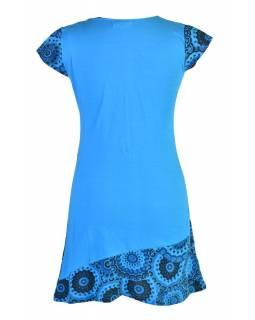 Tyrkysové šaty s krátkým rukávem a potiskem mandal