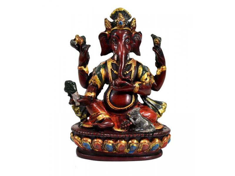 Ganesh, sedící, tyrkysový, bohatě zdoben, pryskyřice, 16cm