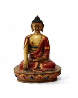 Buddha Šákjamuni, pryskyřice, antik patina, 18cm