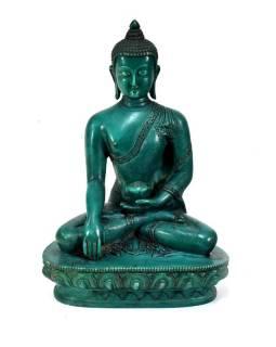 Buddha Šakjamuni, pryskyřice, tyrkysový, ručně vyřezávaný, 21cm