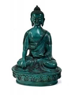 Buddha Šakjamuni, pryskyřice, tyrkysový, ručně vyřezávaný, 20cm