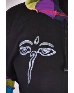 Černá mikina s kapucí a potiskem Buddha eyes, rainbow design, zip, kapsy