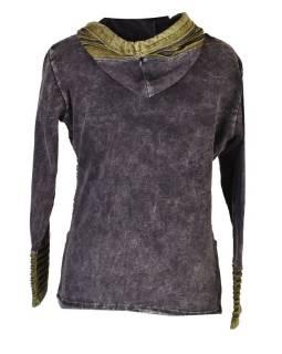 Černá mikina s kapucí a prostřihy, barevná výšivka, zip, kapsy