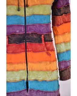 Prodloužená multibarevná mikina s kapucí, rainbow design zip, kapsy