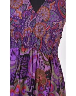 Dlouhé fialové šaty na ramínka, květinový potisk, žabičkování, V výstřih