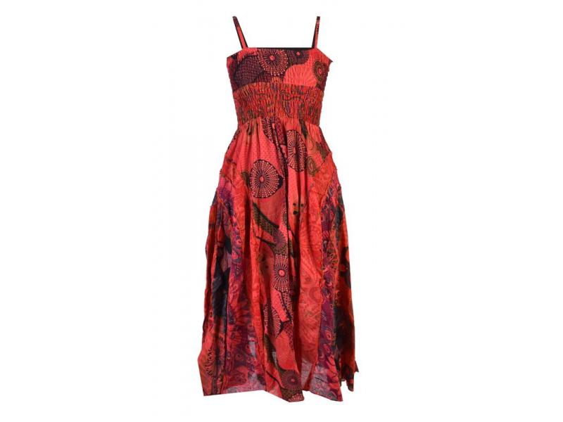 Dlouhé červené šaty na ramínka, květinový potisk, žabičkování