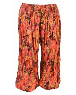 Dlouhé balonové kalhoty s potiskem květin, oranžové, mačkaná úprava
