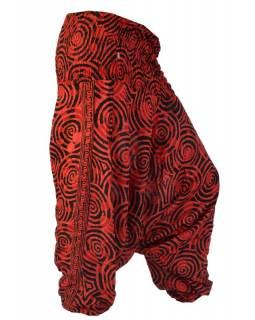 Turecké kalhoty, spirálky, červeno-černé, žabičkování