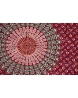 Vínový sárong s ručním tiskem, paví peří, 110x170cm