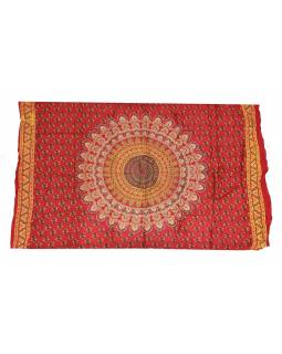 Červený sárong s ručním tiskem, paví peří, 110x170cm