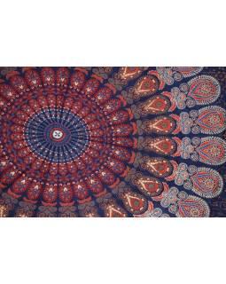 """Sárong tmavě modrý """"Naptal"""" design, 110x170cm, s ručním tiskem"""