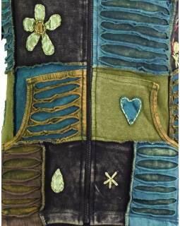 Zelená mikina se špičatou kapucí a prostřihy, barevná výšivka, zip, kapsy