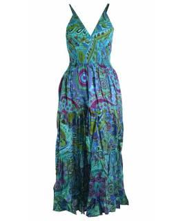 Dlouhé tyrkysové šaty na ramínka, květinový potisk, žabičkování, V výstřih