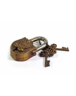 Visací zámek, Lakšmí, mosaz, dva klíče ve tvaru dorje, 8,5cm