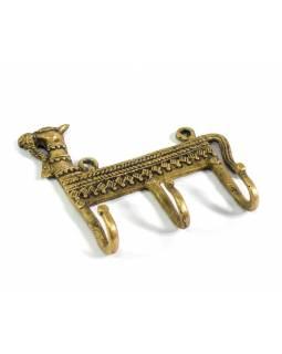 "Věšák velbloud, ""Tribal Art"", zlatá patina, mosaz, tři háčky, 13cm"