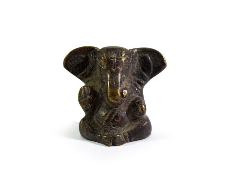 Ganeš, mosazná soška, antik patina, 4x3cm