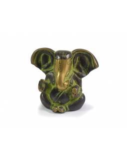 Ganeš, antik mosazná soška, antik zelená patina, 7x8cm